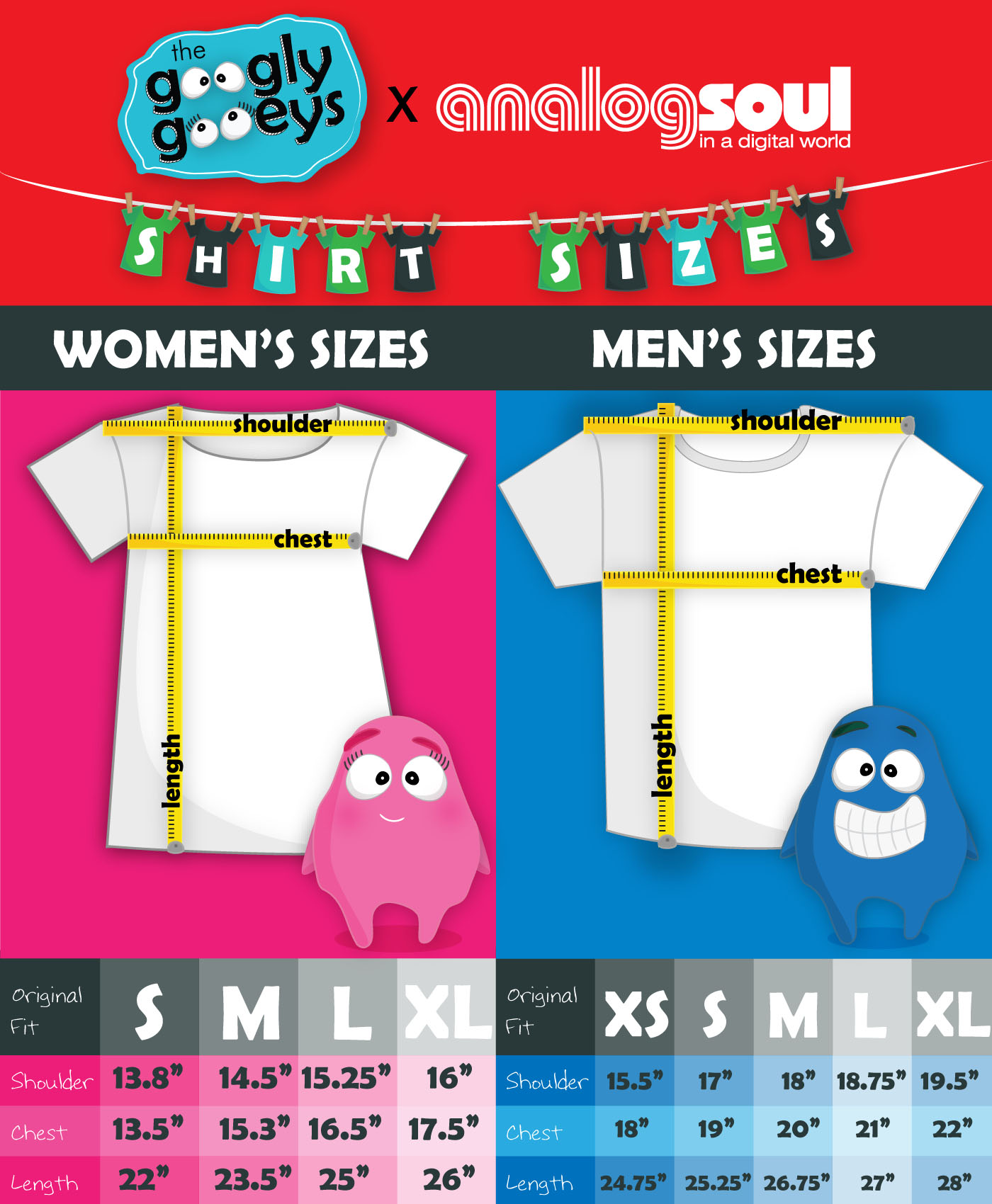 Googly Gooeys Shirts Sizing Chart time to buy some :)