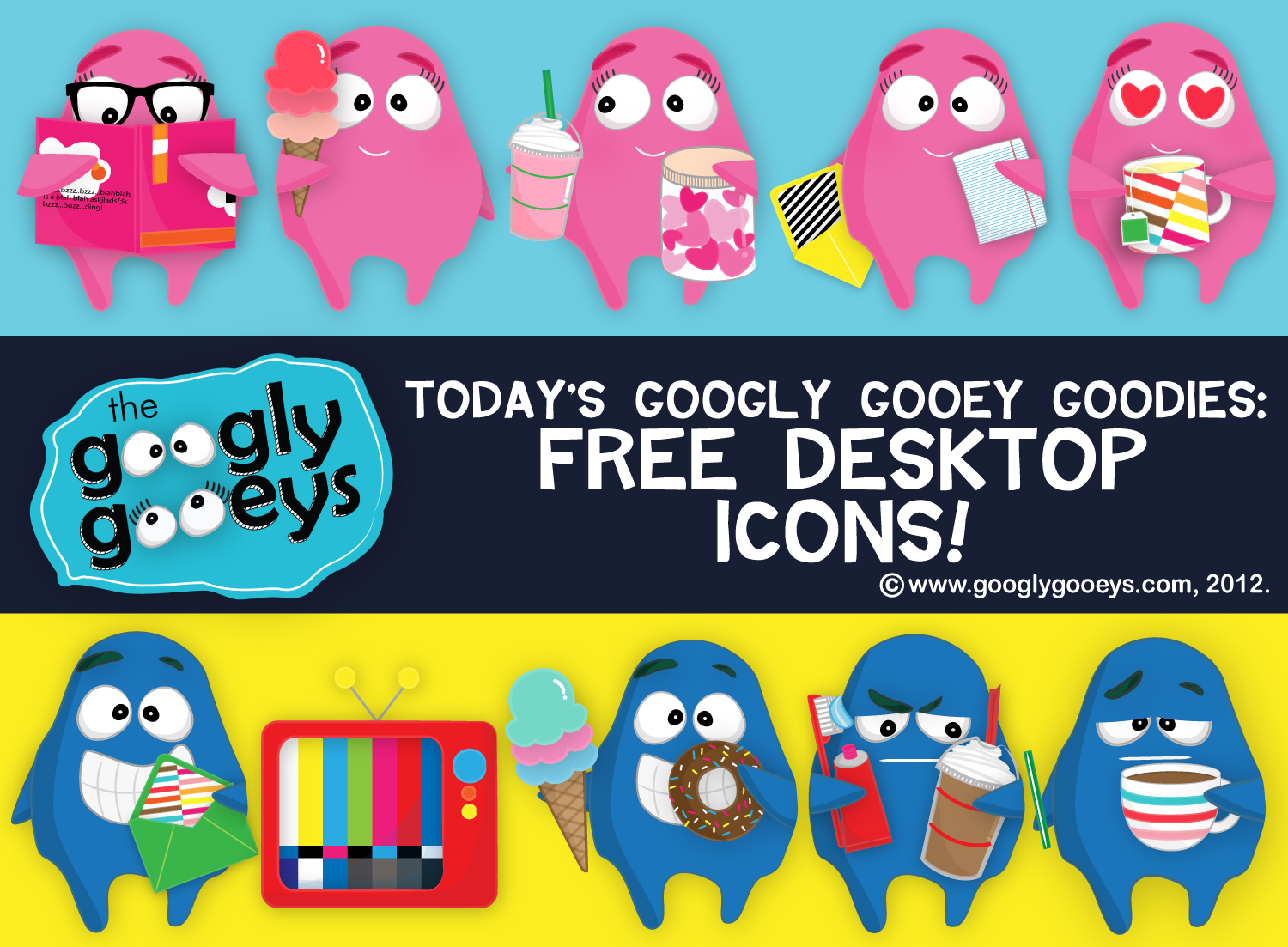 A Day for Googly Gooey Goodies: Download Your Free Desktop Icons Today! :))
