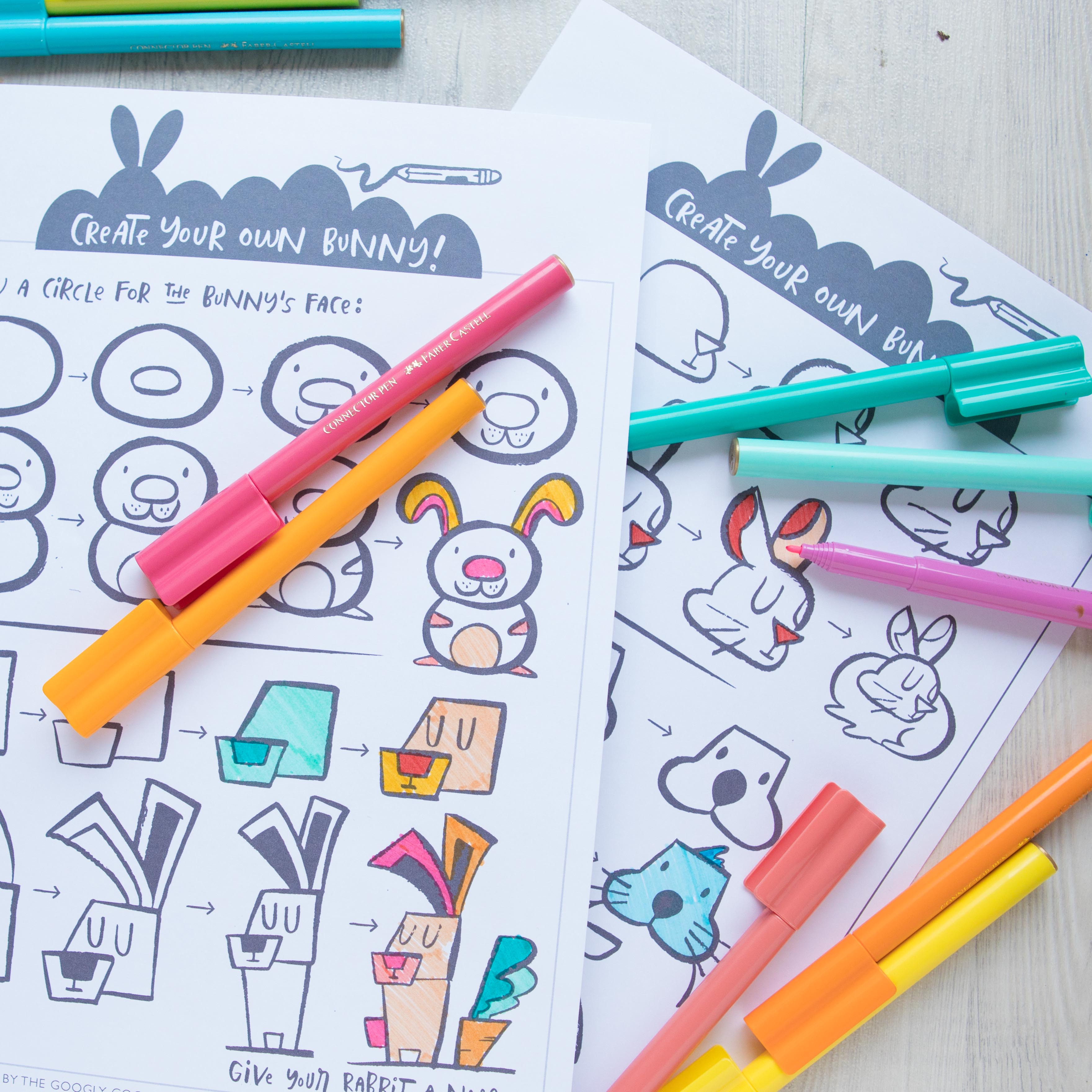 Downloadable Drawing Worksheets: How to Draw a Bunny