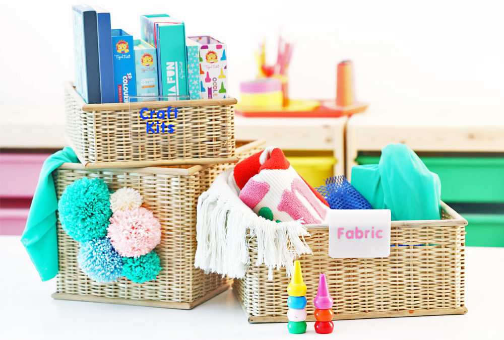 DIY Baskets with Pompom and Sticker Labels