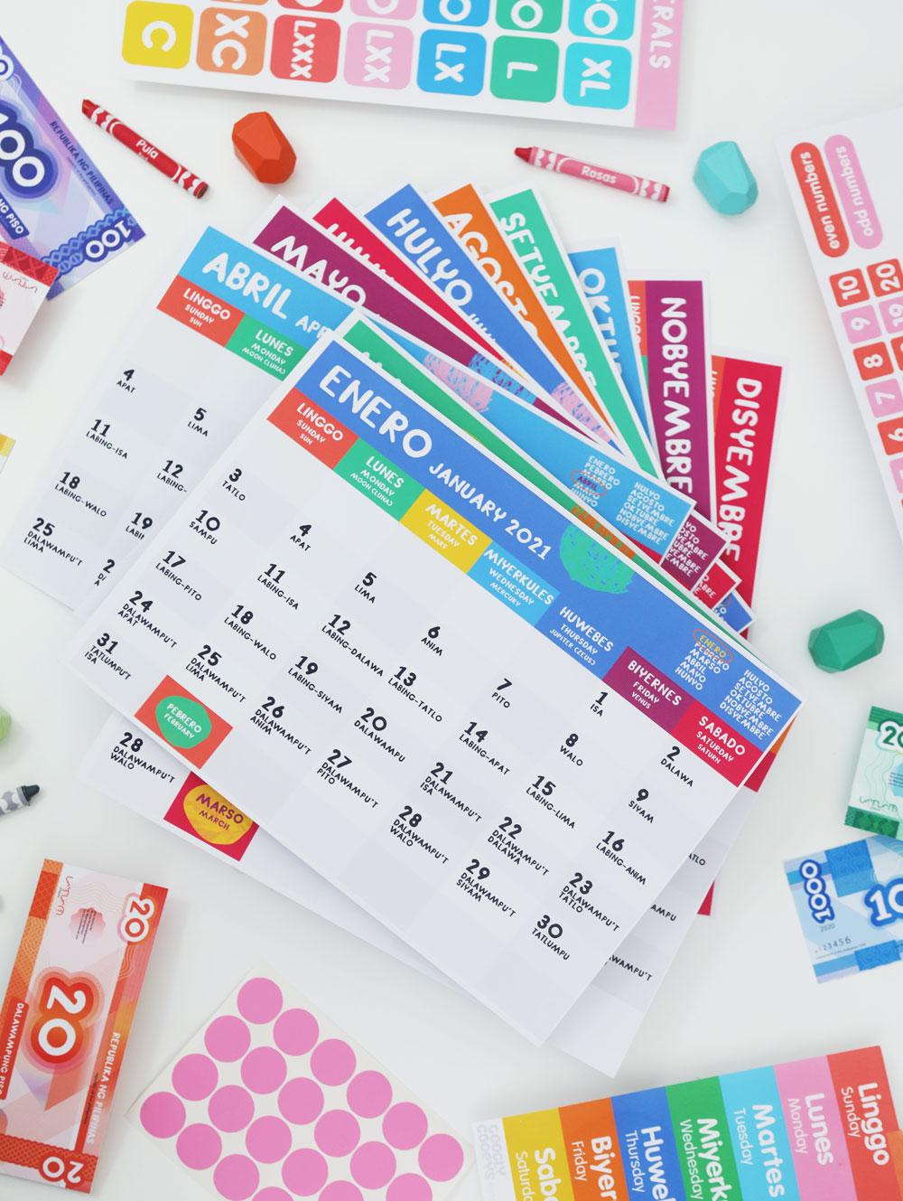 Googly Gooeys Printable Filipino English Calendar 2021