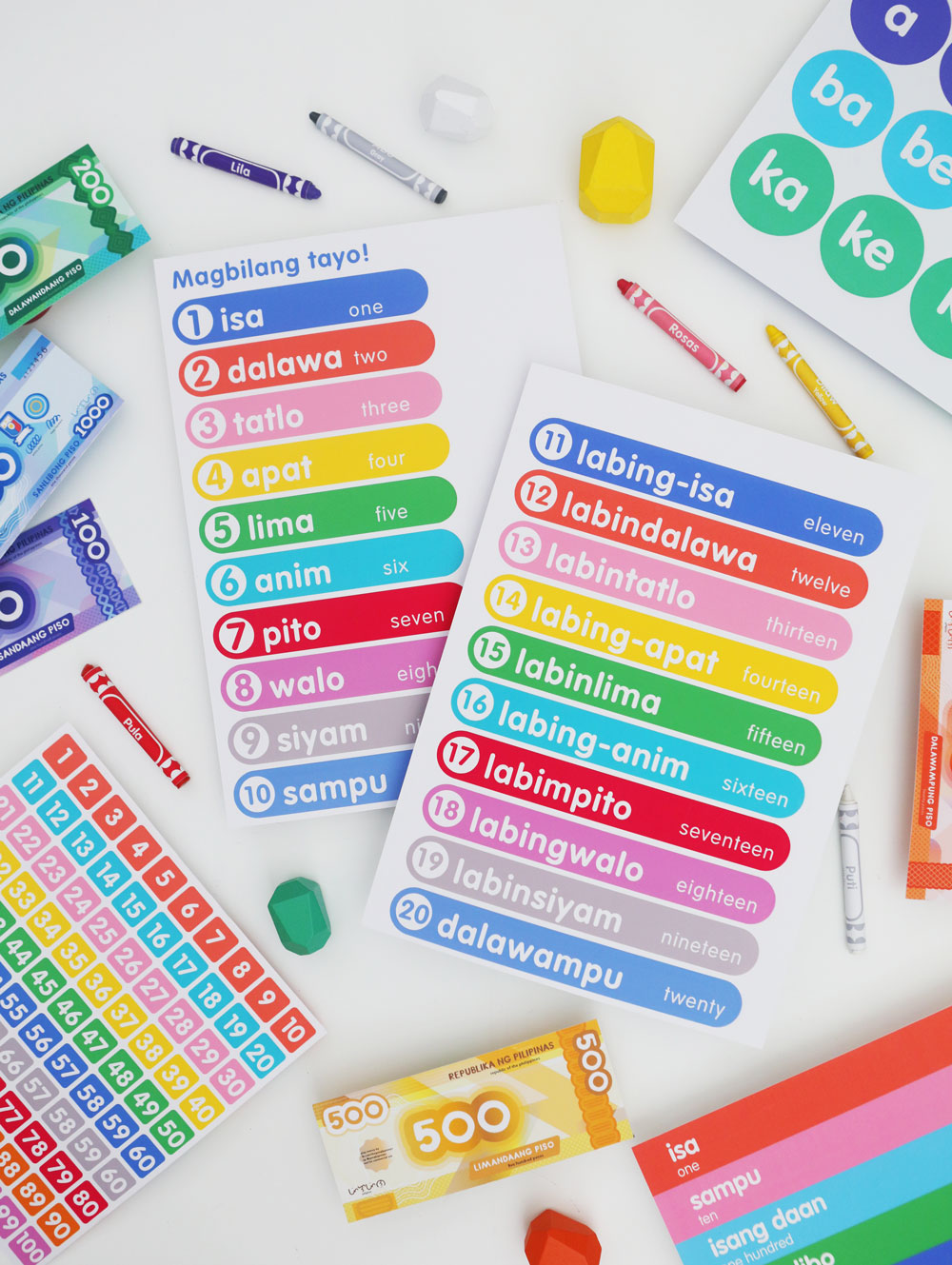 Googly Gooeys Printable Filipino English Counting Numbers to